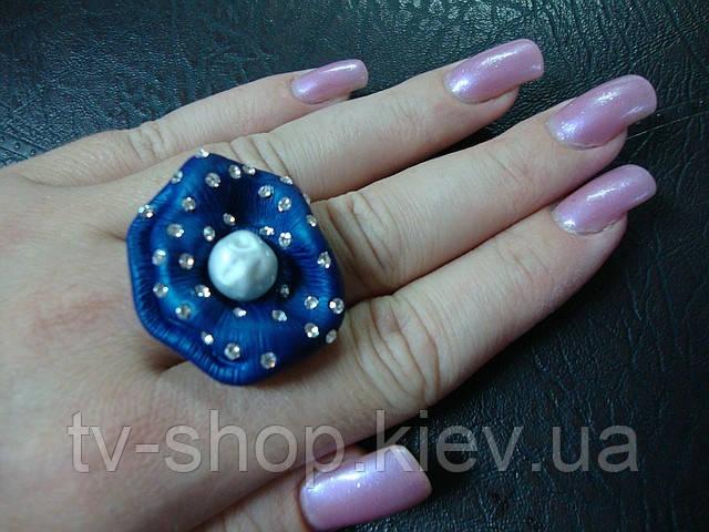 Кольцо с эмалью Синий цветок р.16