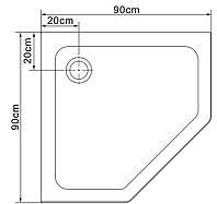 STEFANI поддон пятиугольный акриловый 90*90*15 см