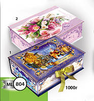 Новогодняя подарочная коробочка для конфет и сладостей 1000гр №804 КД.