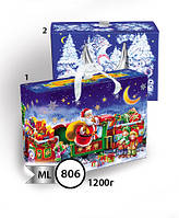 Новогодняя подарочная коробочка для конфет и сладостей 1200гр №806 КД.