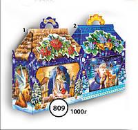Новогодняя подарочная коробочка для конфет и сладостей 1000гр №809 КД.