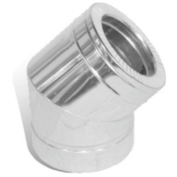 Колено дымохода двустенное нерж/оцинк Версия Люкс 45° D-120/180 толщина 0,6 мм
