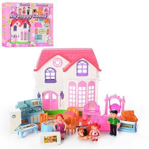 Домик для кукол, кукольный домик с куклой, мебелью фигурки 3шт,собачка