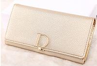 Модный женский классический золотой кошелек клатч