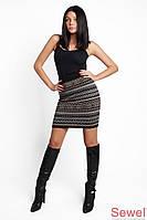 Вязаная теплая короткая юбка