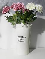 """Ведерко металическое декоративное высокое белое """"Flowers and garden"""""""