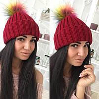 Женская шапка с бубоном,крупная машинная вязка  22П11049