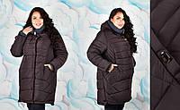 Модная зимняя женская куртка больших размеров с довязом