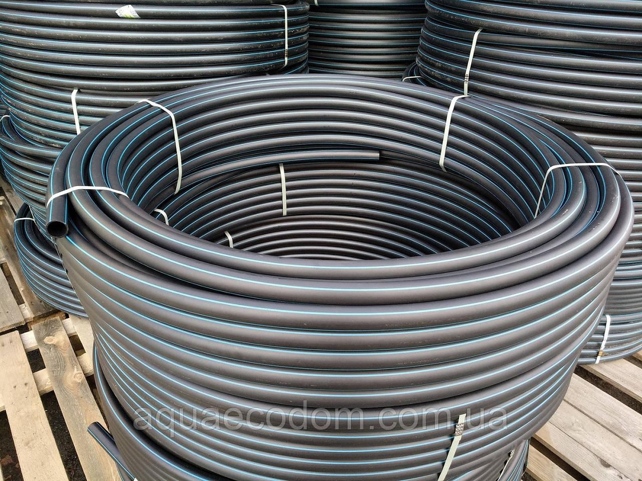 Труба полиэтиленовая  32 мм 6 атм черно синяя