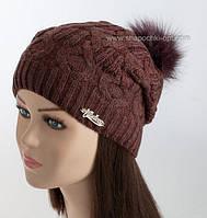 Зимняя шапочка с меховым помпоном Алевтина
