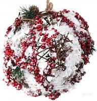Новогодний декоративный венок шар, фото 1