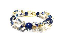 Женский браслет из натуральных камней микс Лазурит