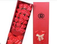 Подарочный букет красных 17 роз ручной работы для любимых женщин, фото 1