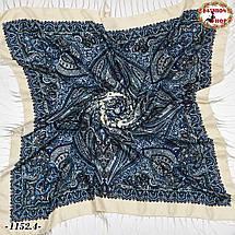 Кремовый павлопосадский шерстяной платок Восточная сказка, фото 2