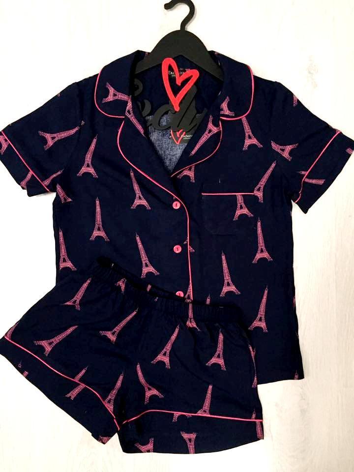 Пижама женская рубашка и шорты с рисунком
