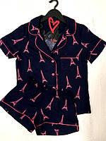 Пижама женская рубашка и шорты с рисунком, фото 1