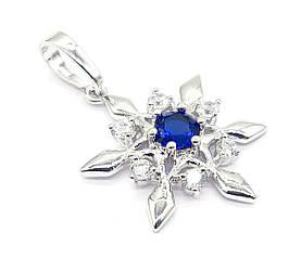 Кулон Сніжинка з синім цирконієм, родій Xuping