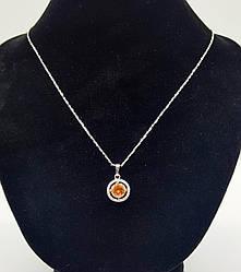 Кулон родій, Кружечок з жовтим цирконієм, Xuping, (без ланцюжка)