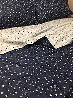 Постельное Белье Звезды синий 100% хлопок.Ткань Бязь производства Беларусь