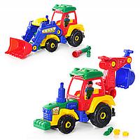 JT Конструктор 1233 (24шт) трактор, 2 вида, в кульке, 38-12см
