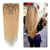 Волосы трессы ТЕРМо на заколках набор из 7 прядей 60см блонд песочный №27\613