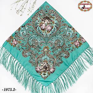 Мятный павлопосадский платок Царский