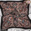 Чёрный павлопосадский платок Мгновение, фото 3