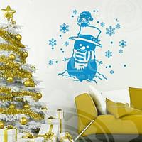 Новогодняя наклейка Веселый снеговик