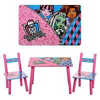 Столик M 2328 MH, деревянный,стульчик 2шт,59,5-39,5см,фиол-розов