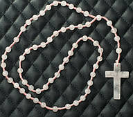 Крестик на шею - Розовый кварц