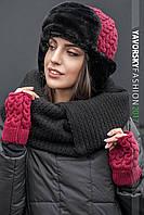 Женский набор шапка ушанка+митенки  22П11061