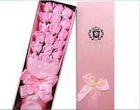 Подарочный букет 17 розовых роз ручной работы для любимых женщин, фото 1