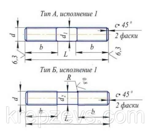 Схема габаритных размеров шпильки ГОСТ 9066-75
