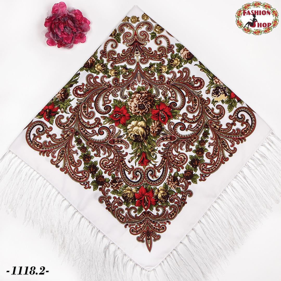 Павлопосадский белый платок Мгновение