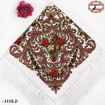 Павлопосадский белый платок Мгновение, фото 2