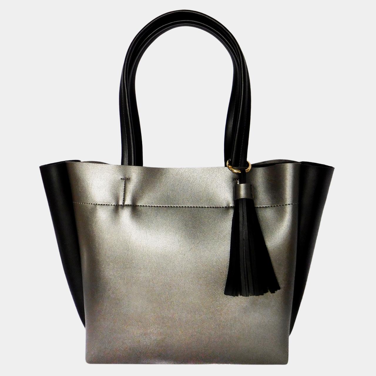 Сумка жіноча срібна з екошкіри (чорні вставки)   Сумка женская серебряная  из экокожи (черные вставки) 1c6a1e53d553f