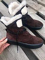 Женские зимние ботинки . Натуральная замша