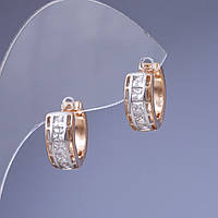"Серьги Xuping цвет металла ""золото и серебро"" с белыми кристаллами 1,6см"