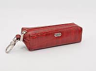 Ключница кожаная, чехол для ключей Desisan 207-4 красный кроко