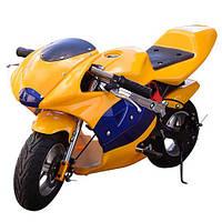 Детский мотоцикл, электромобиль Profi HB-PSB 01-E-6 на аккумуляторе, желтый