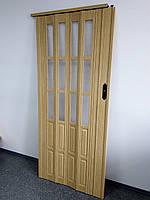 Двери гармошкой полуостекленные 1020х2030х12мм  дуб 269