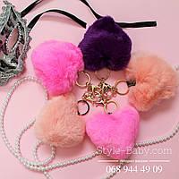 Брелок кролик Сердце из натурального меха на сумку/рюкзак