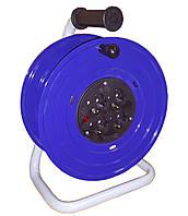 Катушка металлическая под 25м кабеля с розетками 4 шт 16А IP20