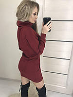 "Трикотажное женское платье-туника ""Косичка"", бордо"