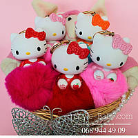 Мягкий меховой Брелок кролик Китти на сумку/рюкзак/ключи