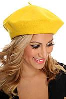 Модный женский шерстяной берет желтого цвета