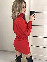 """Трикотажное женское платье-туника """"Косичка"""", красное"""