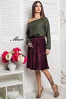 Юбка миди женская плиссе бархат очень модная разные цвета 2Umil85