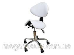 Стул-седло с регулируемой спинкой, сиденья и высоты, мод. 854, цвет белый