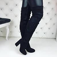 Женские зимние чёрные ботфорты замшевые с вышивками цветка